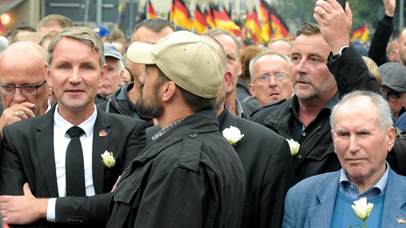 تظاهرة لحزب ألمانيا البديل الذي يعادي فكرة الاتحاد الأوروبي. أ.ب