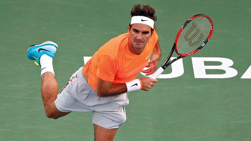 السويسري روجيه فيدرر يطلب لقبه الثامن في تنس دبي للرجال. من المصدر