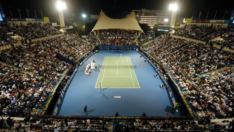 استاد «سوق دبي الحرة» يترقب منافسات النسخة الـ 27 لتنس الرجال. تصوير: باتريك كاستيلو