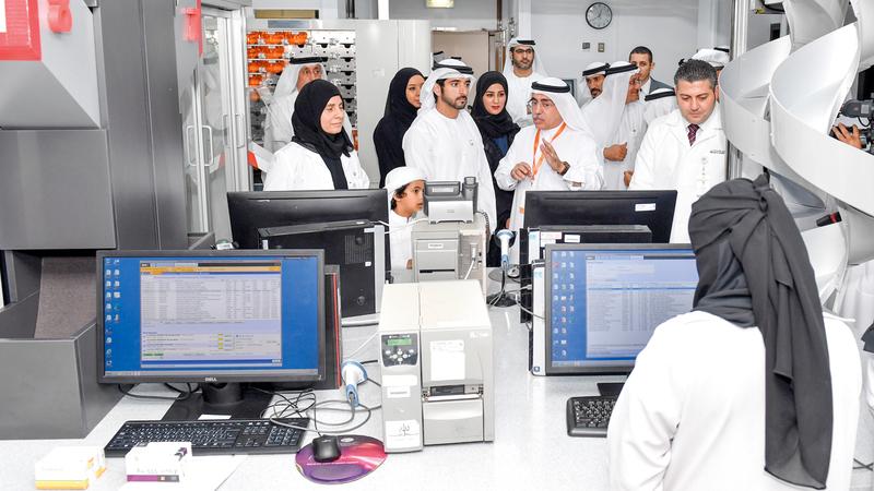 حمدان بن محمد تفقد مستوى الخدمات التي يوفرها مستشفى دبي المعتمد دولياً. وام