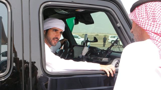 Hamdan bin Mohammed attends the challenges of the camel camel in Al