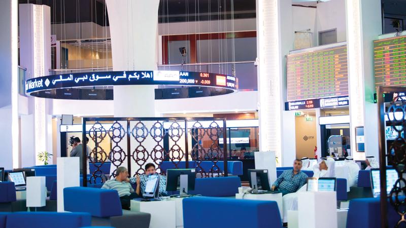 مؤشر سوق دبي المالي أغلق عند 2635.78 نقطة بنهاية فبراير. تصوير: أحمد عرديتي