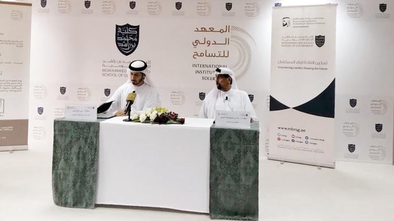 الشيباني والمري خلال الإعلان عن إطلاق برنامج «خبير التسامح». الإمارات اليوم