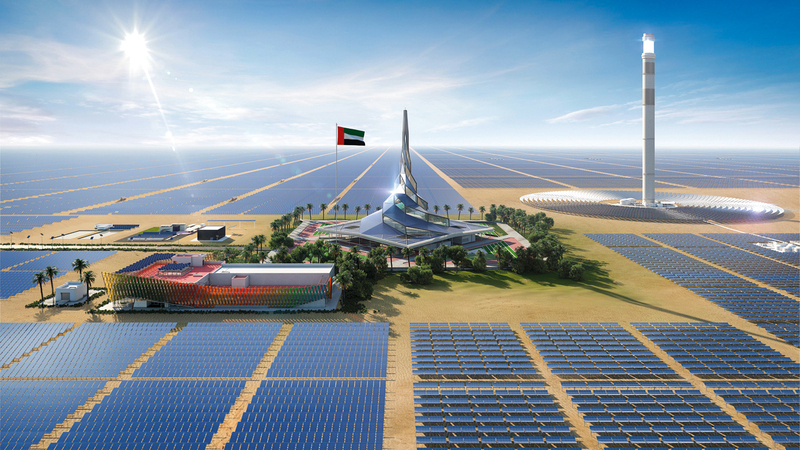 «مجمع محمد بن راشد للطاقة الشمسية» يعد أكبر مشروع استراتيجي لتوليد الطاقة المتجددة في موقع واحد بالعالم. من المصدر