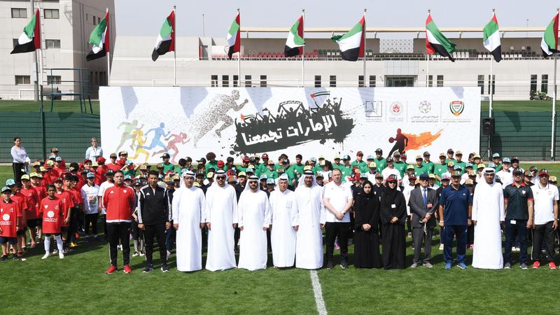 اتحاد كرة القدم يحتفي باليوم الرياضي الوطني بمشاركة 300 طالباً وطالبة وعناصر منتخب كرة القدم لأصحاب الهمم. من المصدر