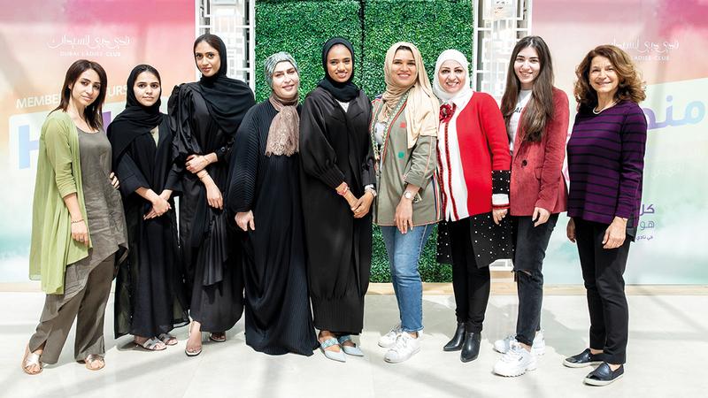 عدد من المشاركات في معرض «منصة رائدات الأعمال».  من المصدر.