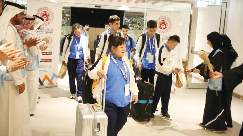 من استقبال الوفود المشاركة في الأولمبياد الخاص برأس الخيمة. من المصدر