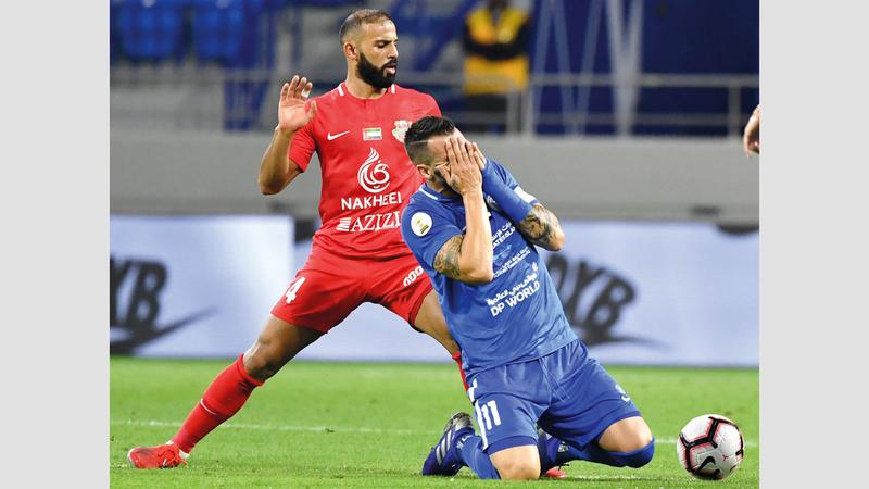 النصر خسر أمام شباب الأهلي وودع كأس الخليج العربي. تصوير: أسامة أبوغانم
