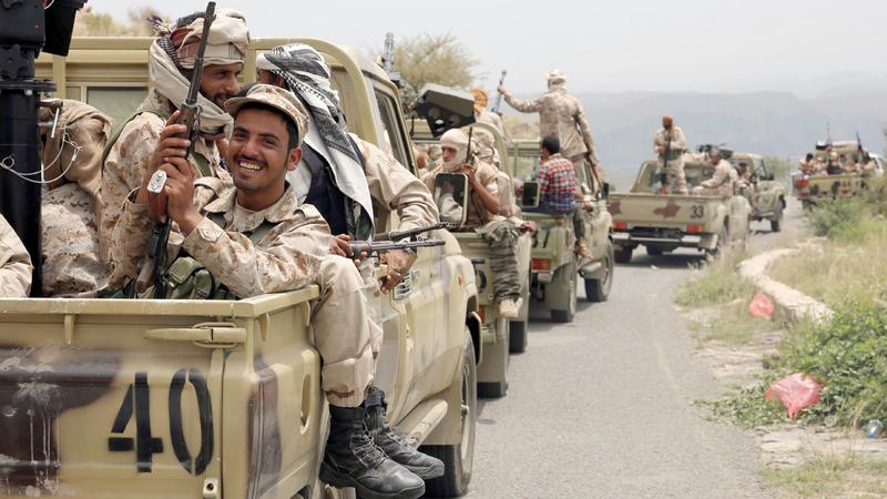 رتل سيارات لقوات الشرعية في منطقة يافع شمال عدن. أرشيفية، أ.ف.ب