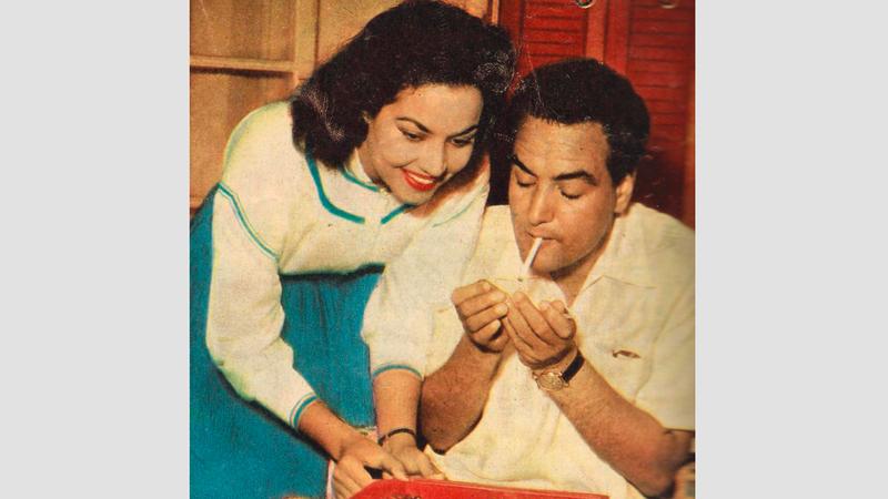 محمد فوزي وزوجته مديحة يسري. أرشيفية