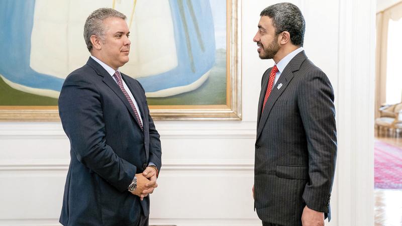 عبدالله بن زايد بحث مع الرئيس الكولومبي سبل تعزيز التعاون في مختلف المجالات. وام