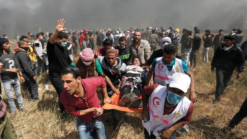 29 ألف فلسطيني أصيبوا بجروح متفاوتة خلال عام من مسيرات العودة. أرشيفية