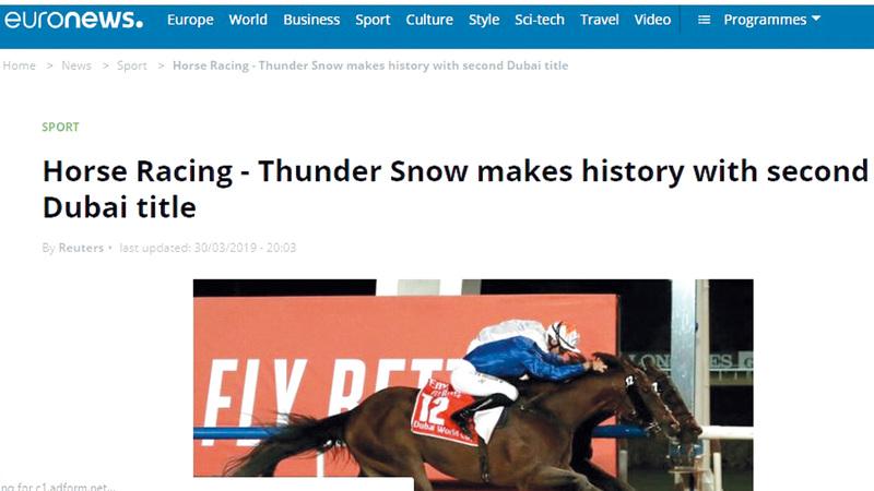 «يورو نيوز» قالت إن «ثندر سنو» فرض  سيطرته على سباق كأس دبي العالمي.