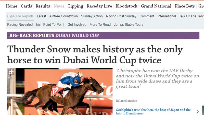 «ريسينغ بوست» ذكرت أن فوز «ثندر سنو»  يعد إنجازاً تاريخياً خارقاً.