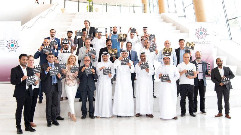 شارك في الحدث الذي أقيم أمس بمتحف الاتحاد ممثلو دور السينما في الإمارات ومجموعة من شركات الإنتاج والترويج السينمائية.  تصوير: أحمد عرديتي