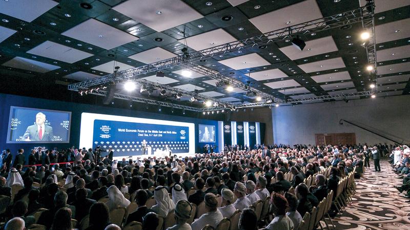 خلال الجلسة الافتتاحية لـ«منتدى الاقتصاد العالمي للشرق الأوسط وشمال إفريقيا» المنعقد في الأردن. وام