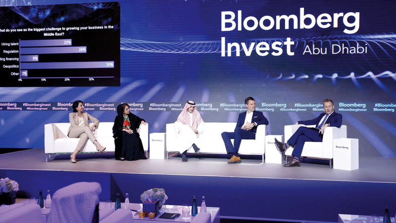خلال إحدى جلسات قمة «بلومبرغ» للاستثمار في أبوظبي. من المصدر