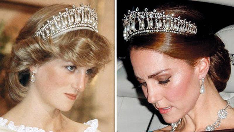 كيت وديانا سمحت لهما الملكة بارتداء أغلى المجموعات الملكية. من المصدر
