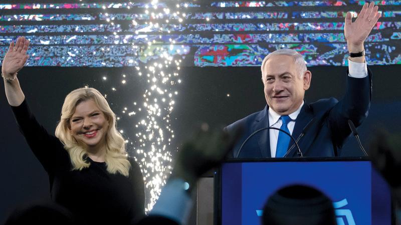 نتنياهو إثر فوزه للمرة الخامسة برئاسة الحكومة الإسرائيلية.  إي.بي.إيه