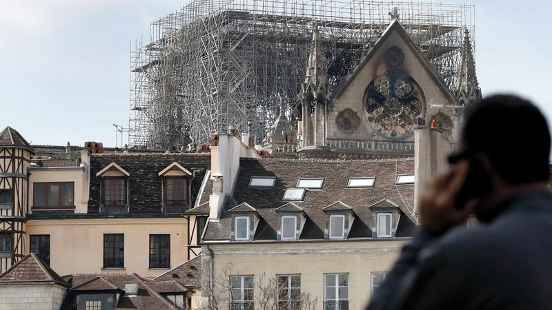 مشهد يظهر الدمار الذي حل بالكاتدرائية. أ.ب