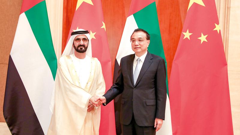 محمد بن راشد عقد جلسة مباحثات مع رئيس مجلس الدولة الصيني. وام