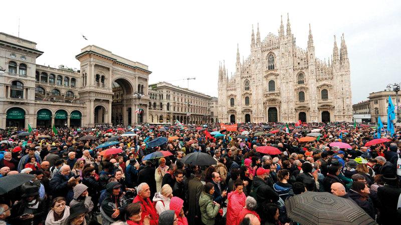 احتفالات يوم التحرير في إيطاليا شهدت تصعّيداً للخلاف بين «الرابطة» و«خمس نجوم».  أسوشيتدبرس