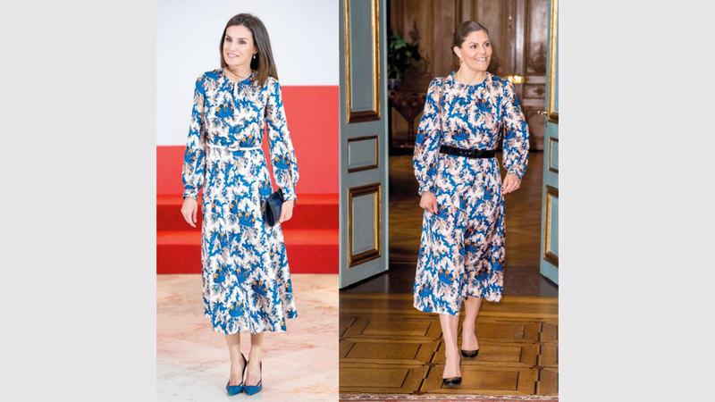 الملكة ليتيسيا والأميرة فيكتوريا ترتديان الفستان نفسه.  غيتي