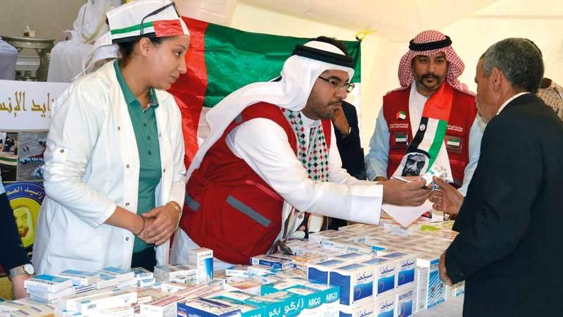 فريق طبي وجراحي إماراتي مغربي تطوعي يشارك في حملة «أطباء الإمارات». من المصدر