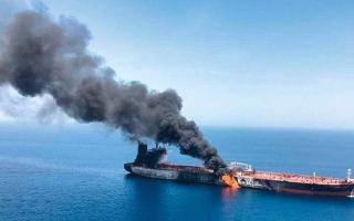 الصورة: بريطانيا تجدد اتهام إيران بهجوم الناقلتين في خليج عمان