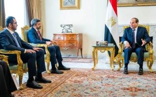 الصورة: السيسي يؤكد تضامن مصر ودعمها للإمارات في مواجهة مختلف التحديات