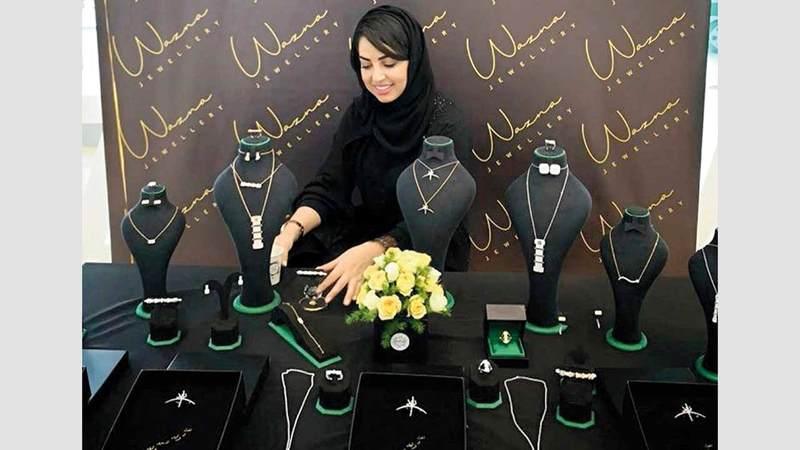 اختارت الإماراتية الوازنة فلاح الأسلوب البسيط في تقديم رؤيتها في عالم  الذهب والألماس.  الإمارات اليوم