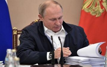 الصورة: بوتين يرد على أسئلة المواطنين عبر برنامج «الخط المباشر»