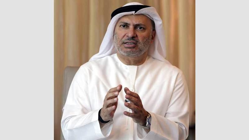 قرقاش دعا إلى الحوار والتفاوض بهدف خفض التصعيد في الخليج. أرشيفية