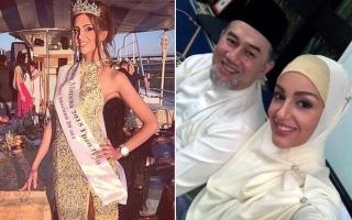 الصورة: أول صور لملكة جمال موسكو وملك ماليزيا