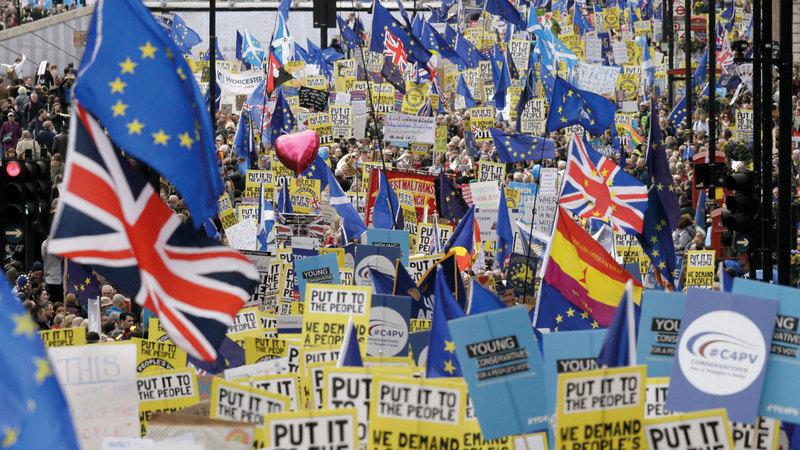 إحدى حملات الاستفتاء بشأن خروج أو بقاء بريطانيا في الاتحاد الأوروبي. غيتي
