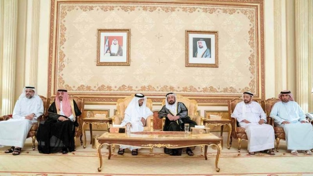 Ruler of Sharjah receives condolences from Sultan bin Zayed on the