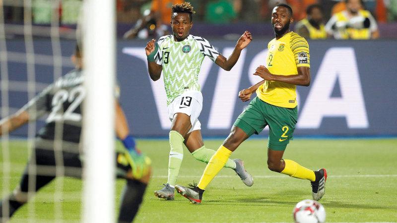 نيجيريا تأهلت إلى نصف نهائي كأس إفريقيا على حساب جنوب إفريقيا. رويترز