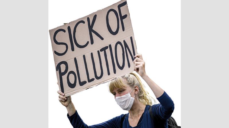 تظاهرة في ألمانيا ضد التلوث. أ.ب