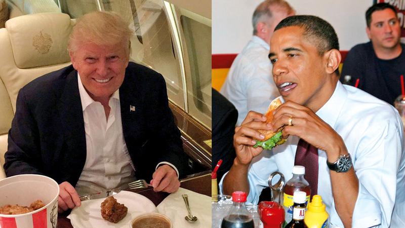 الرئيسان السابق والحالي يتناولان طعامهما. غيتي