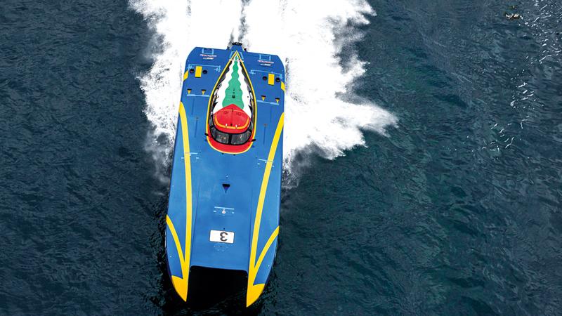 زورق «فيكتوري 3» يستعد لخوض الجولة الرابعة من بطولة العالم للزوارق السريعة في الولايات المتحدة. من المصدر