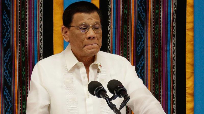 الرئيس الفلبيني  خلال خطابه للأمة. أ.ب