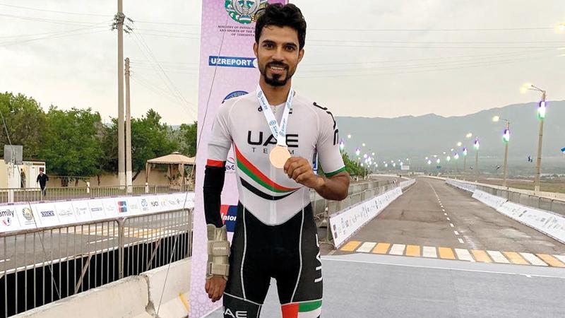عبدالله البلوشي خلال مشاركته في بطولة آسيا الشهر الماضي. من المصدر