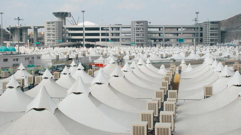 البعثة التحضيرية تتأكد من استكمال أعمال بناء المخيمات في منى وعرفات. من المصدر