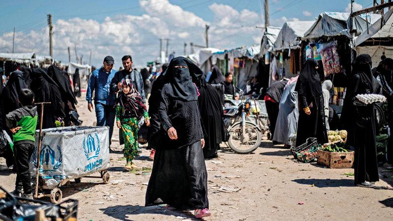 مخيم «الهول» أكبر المخيمات في شمال شرق سورية. أ.ف.ب