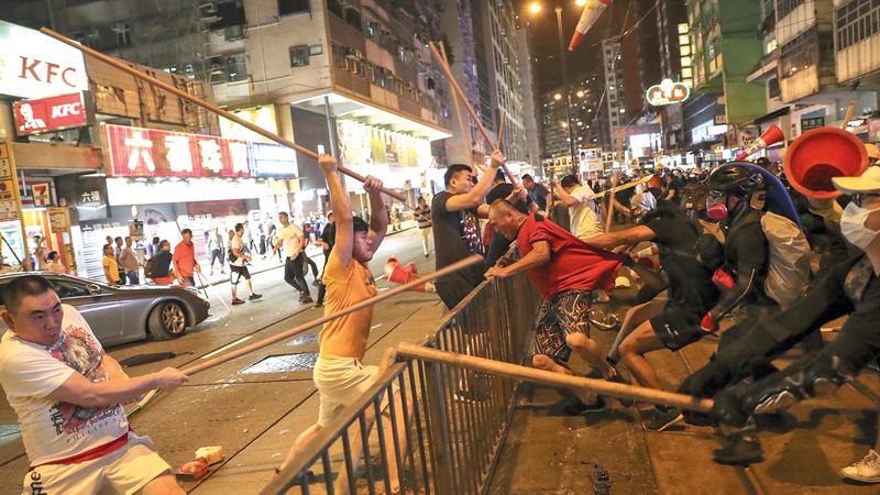 احتجاجات هونغ كونغ دخلت أسبوعها التاسع. أ.ب