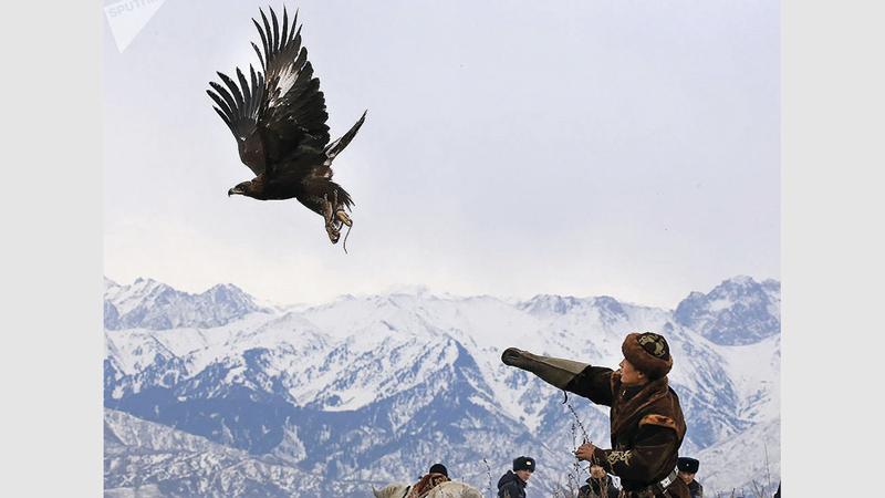 الصيد بالصقور تراث عريق في كازاخستان. من المصدر