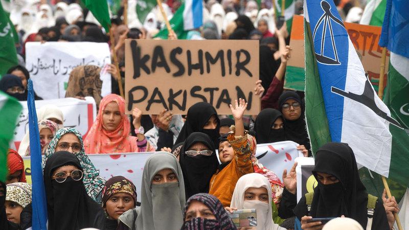 تظاهرات في باكستان ضد قرار الهند تغير الوضع القانوني لكشمير. أ.ف.ب