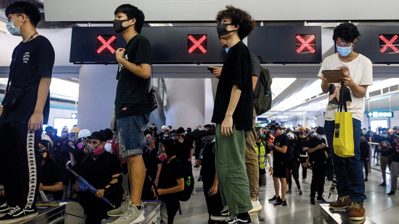 الاحتجاجات تمثل واحدة من أكبر التظاهرات في تاريخ هونغ كونغ. أرشيفية