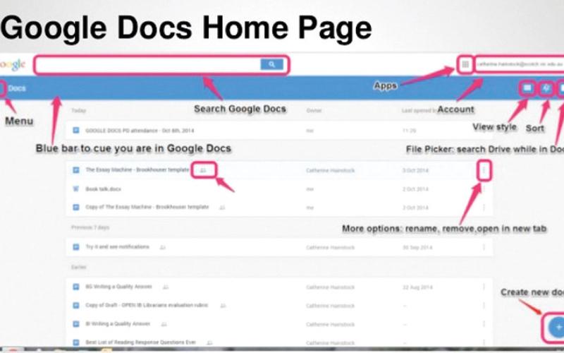 الصورة: استخدام الأيقونات لتسهيل Google Docs
