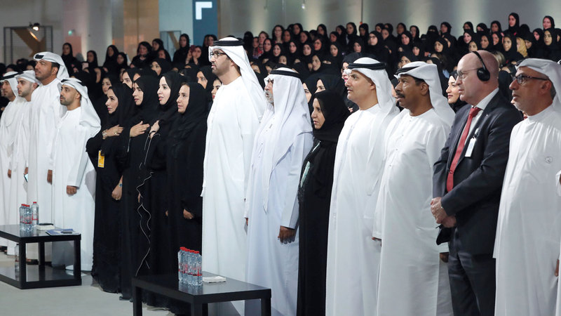 خلال الاحتفال الذي أقامته شركة «أدنوك» بمناسبة يوم المرأة الإماراتية.  وام